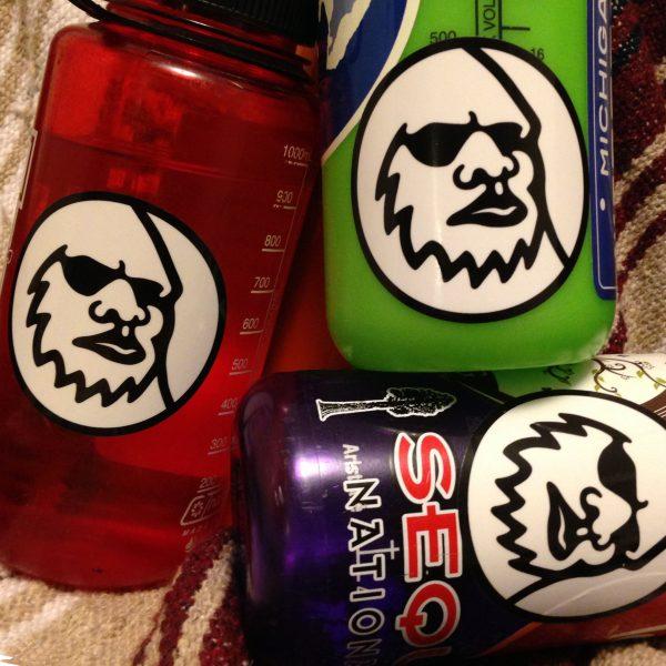 Widefoot stickers on Nalgene Bottles