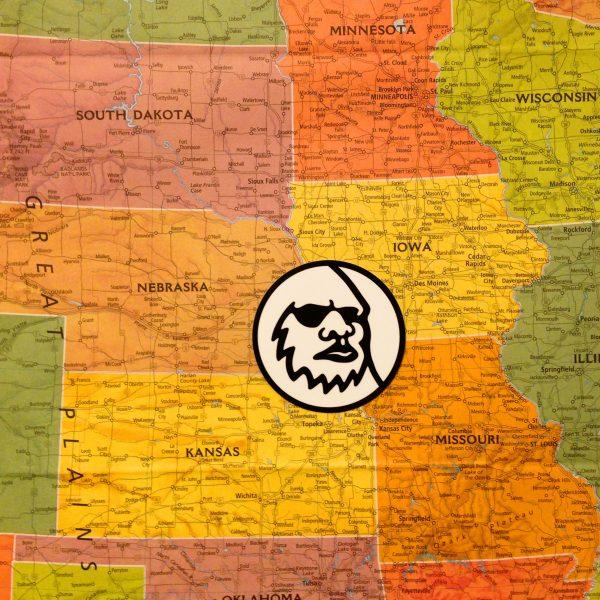 Yeti Logo Sticker on Map