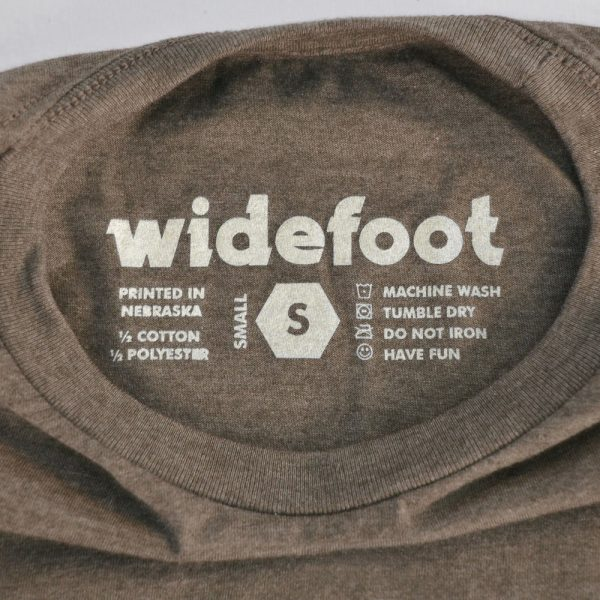 Screen printed tag on Widefoot logo t-shirt